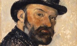 A detail of Self-portrait in a Bowler Hat by Paul Cézanne, 1892.