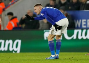 Leicester City's Jamie Vardy reacts after sustaining an injury.