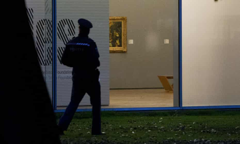 A space on the wall marks where a painting was removed in a robbery at the Rotterdam Kunsthal museum in 2012