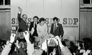 Roy Jenkins, Dr David Owen, Shirley Williams and Bill Rodgers after the launch of the new Social Democratic party in March 1981.