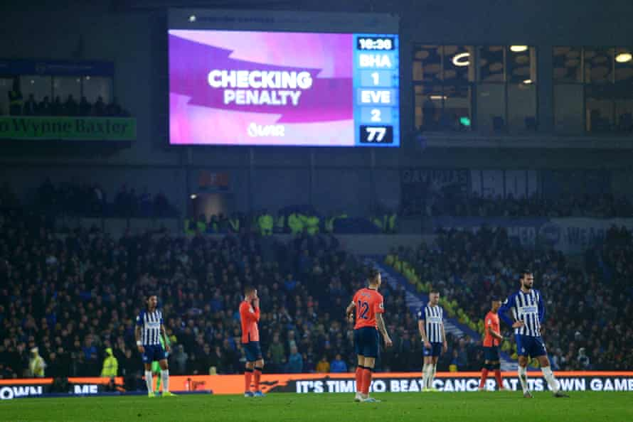 Fans were left baffled as VAR intervened to award Brighton a penalty against Everton on Saturday when Michael Keane accidentally stepped on Aaron Connolly's toe.