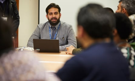 Syrian refugees attend an employability session run by World Jewish Relief's refugee programme in Coventry.
