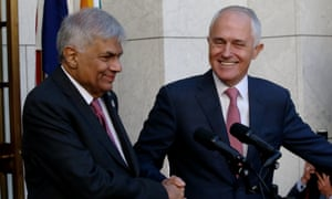 Ranil Wickremesinghe and Malcolm Turnbull face the media at Parliament House in Canberra on Wednesday