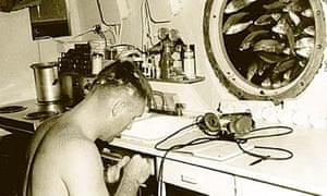 American aquanaut Berry L Cannon inside Sealab II