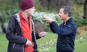 Sam Wollaston, left, with Bear Grylls in Hyde Park, London.