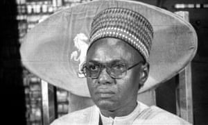 Shehu Shagari at a press conference in Lagos, Nigeria, in the early 1980s.