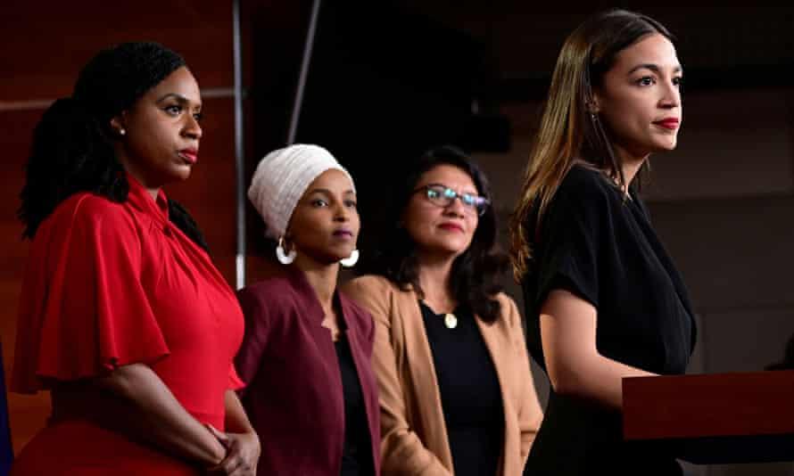 US representatives Ayanna Pressley, Ilhan Omar, Rashida Tlaib, Alexandria Ocasio-Cortez