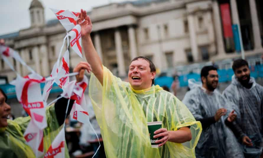 Fans gathered in a number controlled and strictly socially distant pen in Trafalgar Square for the England v Germany match.