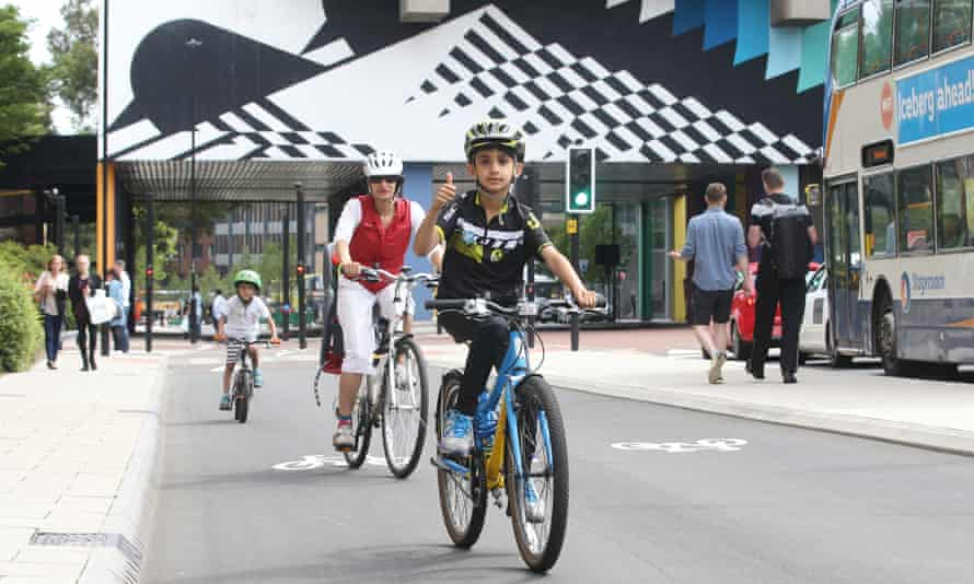 A protected cycleway on Newcastle's John Dobson Street forms a key part of the Great North Cycleway