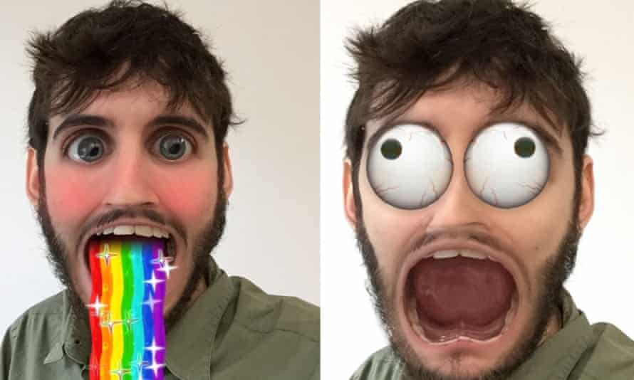 """Snapchat's """"lenses"""" feature, as modelled by Guardian technology reporter Alex Hern."""
