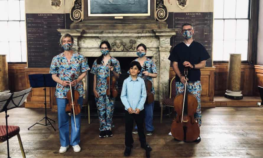 The piece by Apollo Premadasa (centre) was performed by four Barts Health medical staff from Newham hospital and the Royal London hospital.