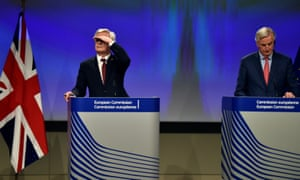 David Davis (left), the Brexit secretary, and Michel Barnier, the EU's chief Brexit negotiator, at their press conference in Brussels.