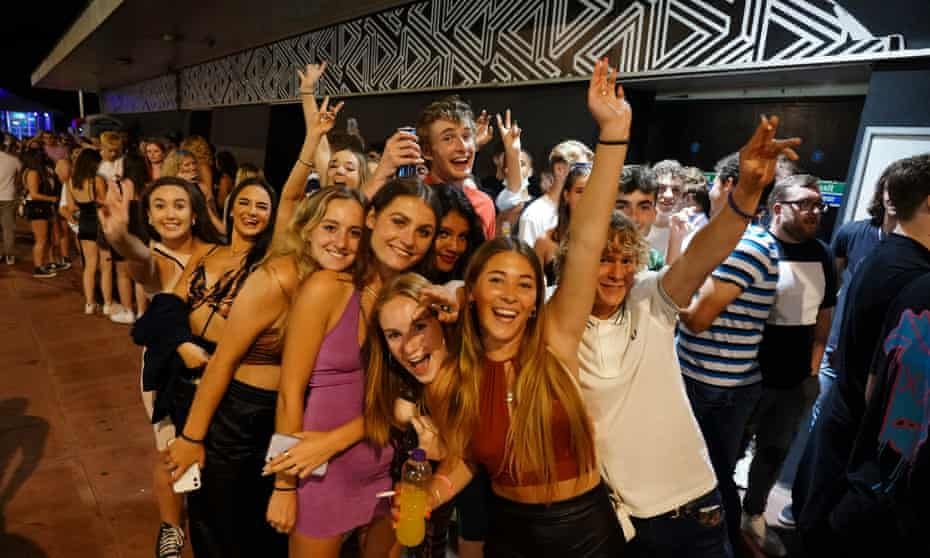 Clubbers queue to get into Pryzm nightclub in Brighton, 19 July 2021.