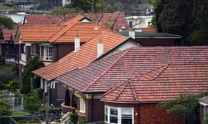 Stock image of houses with red tile rooves in Sydney