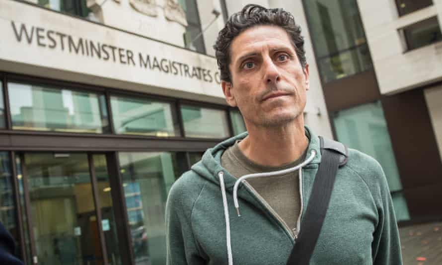CJ de Mooi, real name Joseph Connagh, leaves Westminster magistrates court on Thursday.