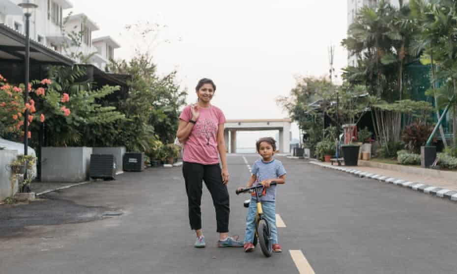 Fazila Kapasi and her son in Cosmo Park