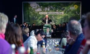 Winfried Kretschmann, premier of Baden-Württemberg, speaks at a campaign gathering  in Aalen, Germany