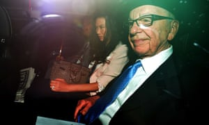 Lachlan Murdoch, Wendi Deng and Rupert Murdoch on their way to give evidence at the Leveson inquiry in 2012