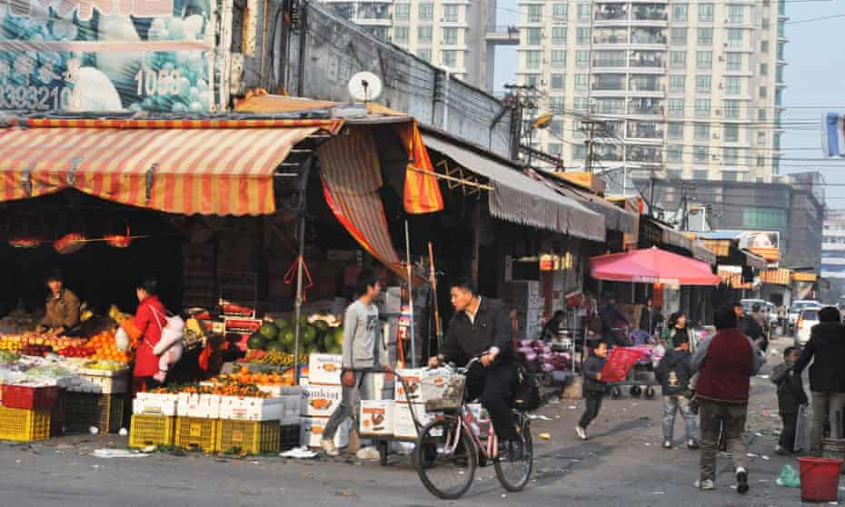 A food market in Changping district, Dongguan, China.