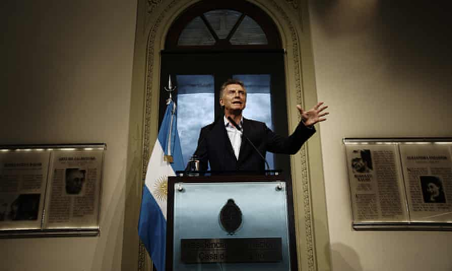 Argentinian president Mauricio Macri speaking in Buenos Aires.