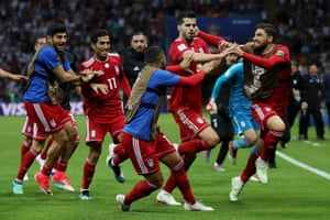 Saeid Ezatolahi and the rest of the celebrating Iranians don't know that VAR is being checked.