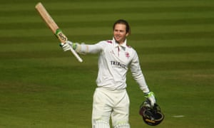 Eddie Byrom of Somerset celebrates after reaching his century.