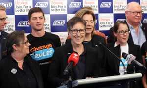 ACTU secretary Sally McManus (centre). Employer groups have pushed back against union calls for a $43 a week increase in the minimum wage