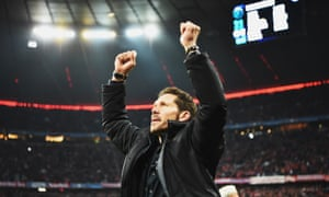 Atlético Madrid's head coach, Diego Simeone, celebrates at the final whistle of the Champions League semi-final against Bayern Munich.