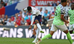 Marcus Rashford fires in a shot against Nigeria