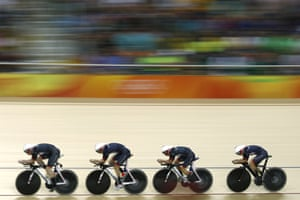Britain's Katie Archibald, Elinor Barker, Joanna Rowsell-Shand and Laura Trott compete in the women's team pursuit qualifying.