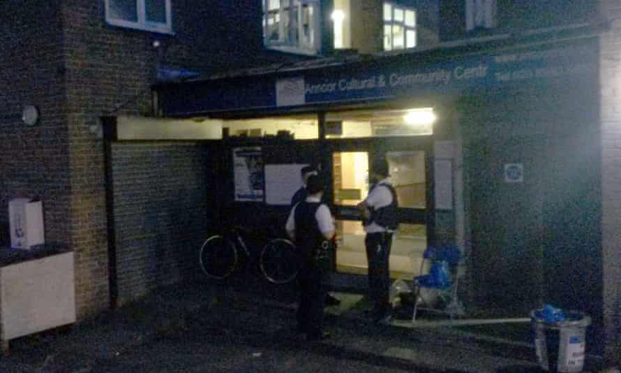 Police outside the An-Noor cultural and community centre in Acton, west London, as part of the ongoing investigation into the murder of Syrian-born preacher Abdul Hadi Arwani.