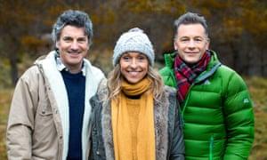 Autumnwatch presenters Martin Hughes-Games (L), Michaela Strachan and Chris Packham