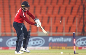 Jason Roy looks back at the stumps after being bowled by Bhuvneshwar Kumar.