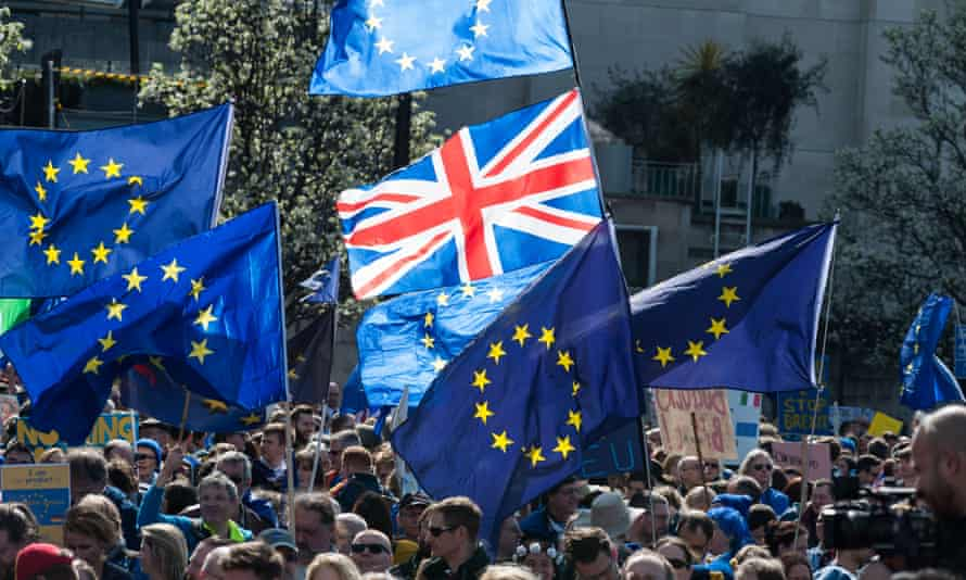 Pro-EU supporters take part in Unite For Europe March through central London.