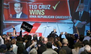 CNN projects Cruz will win the Iowa caucus as supporters cheer in Des Moines on 1 February 2016.