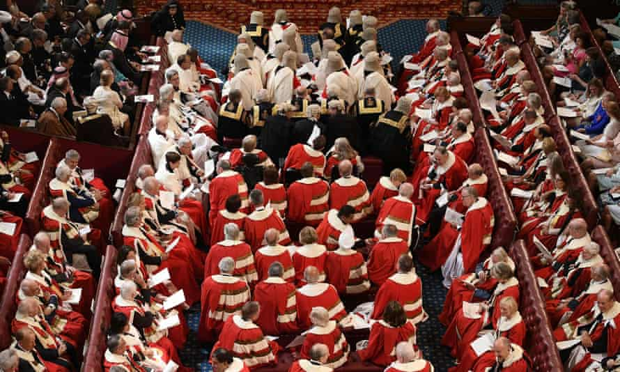 Peers take their seats in the House of Lords ahead of the state opening of parliament