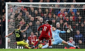 Liverpool's Mohamed Salah scores their fourth goal.