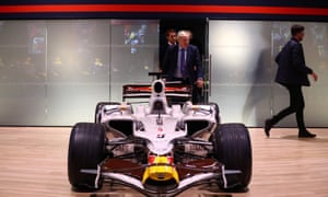 Boris Johnson posing with aRed Bull Racing Formula One car during a campaign visit to Red Bull Racing in Milton Keynes.