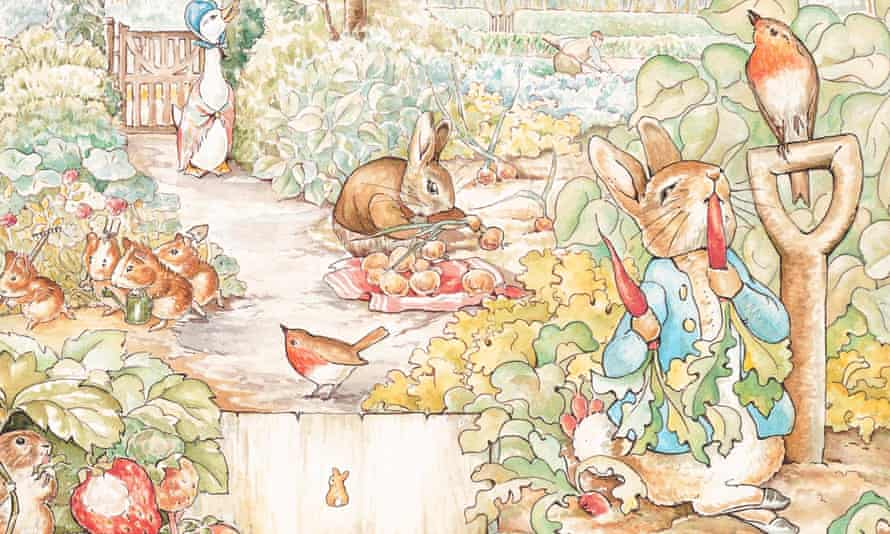 Illustration of Beatrix Potter's Peter Rabbit eating carrots in a garden with other animals