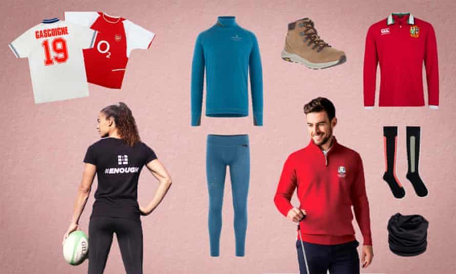 Clockwise: Classic football shirts, Fafne base layers, hiking shoe, British & Irish Lions shirt, compression socks, silk snood, Solheim Cup golf top, women's rugby t-shirt