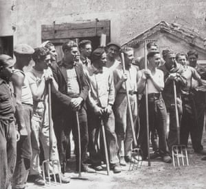 French labourers in original worker's jackets.