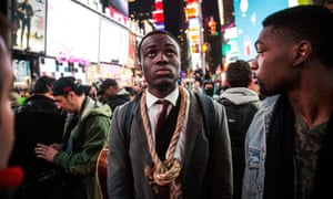 People protest in Times Square, New York City
