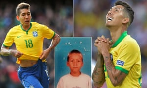 Roberto Firmino playing for Brazil in 2015 (left), 2019 (right) and as a schoolboy.