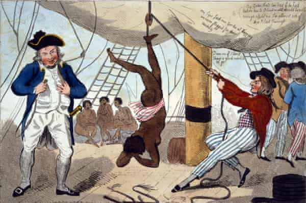 Illustration of John Kimber punishing a female slave onboard the Recovery.