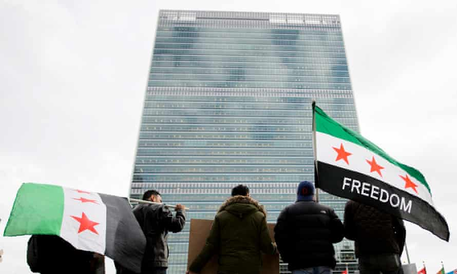 Protesters in front of UN headquarters.
