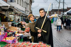 Jedi Everett Ratcliffe, with stallholder Andy Smith at Loughborough market.