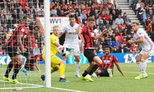 Billy Sharp (right) scores the equalising goal for Sheffield United against Bournemouth.