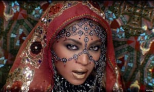 Screengrab of Beyonce in the new Coldplay video, India