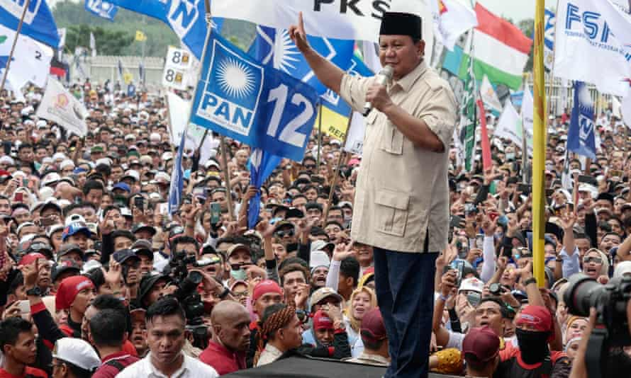 Indonesian presidential candidate Prabowo Subianto speaks on his campaign.