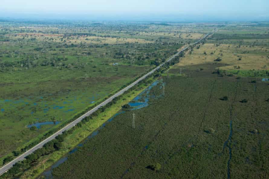 Road from Campo Grande to Corumba (BR-262) in Mato Grosso do Sul, Brazil